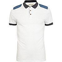 White denim shoulder patch polo shirt