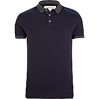 Navy denim shoulder patch polo shirt
