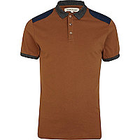 Brown denim shoulder patch polo shirt