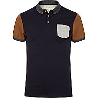 Navy colour block short sleeve polo shirt