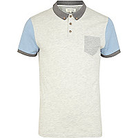 Ecru colour block short sleeve polo shirt
