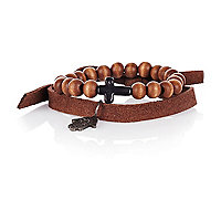 Brown leather and bead cross bracelet pack