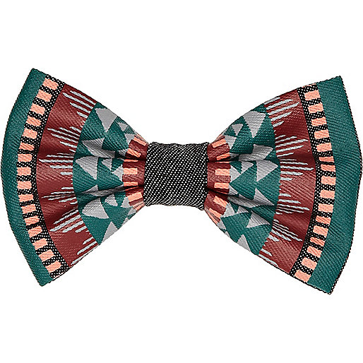 Brown aztec print bow tie