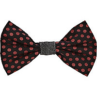 Black and burgundy polka dot bow tie