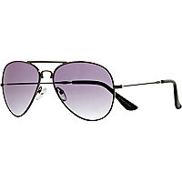 Grey metal folding aviator sunglasses