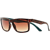 Brown tortoise two-tone retro sunglasses