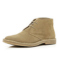 Stone suede lace up desert boots