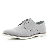 Grey canvas minimal lace up shoes