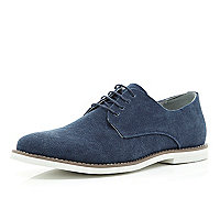 Navy canvas minimal lace up shoes