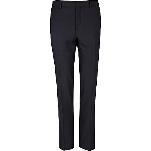 Navy blue skinny suit trousers