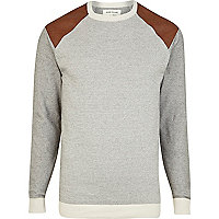 Brown contrast shoulder patch print jumper