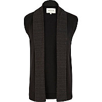 Black contrast lapel sleeveless cardigan
