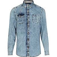 Light wash American flag cross denim shirt