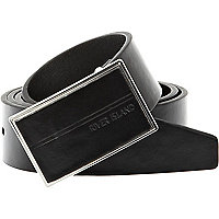 Black smart metal plate buckle belt
