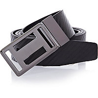 Black metal plate reversible belt