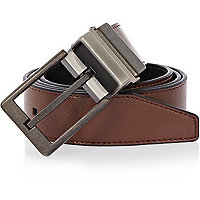 Dark brown reversible textured belt