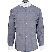 Navy long sleeve stripe shirt