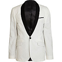 Black and white colour block jacquard blazer