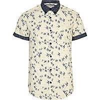Ecru bird print contrast trim shirt