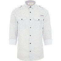 White striped mini collar military shirt