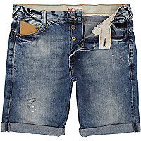 Light wash distressed turn up denim shorts