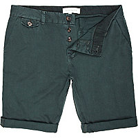 Green turn up smart shorts