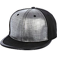 Black metallic panel flat peak cap