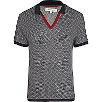 Black geometric print polo shirt