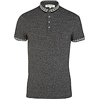 Black grindle jacquard collar polo shirt