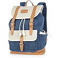 Blue colour block denim rucksack