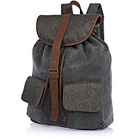 Grey contrast textured panel rucksack