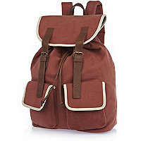 Orange canvas contrast trim rucksack