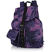 Purple acid wash rucksack