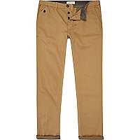 Brown contrast stripe turn up slim chinos