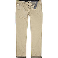 Stone contrast stripe turn up slim chinos