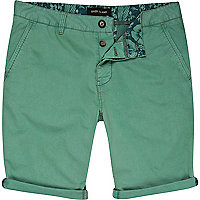 Green turn up chino shorts