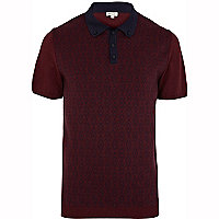 Dark red printed knitted polo shirt