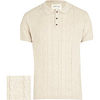 Ecru cable knitted polo shirt