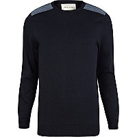 Navy quilted shoulder patch jumper