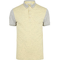 Yellow and grey colour block polo shirt