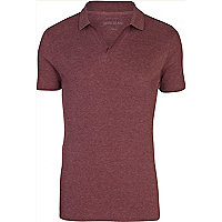 Red open neck rib polo shirt