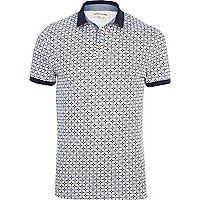 Ecru tile print short sleeve polo shirt