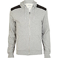Grey leather look shoulder patch hoodie