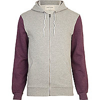 Grey colour block hoodie