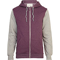 Purple colour block hoodie