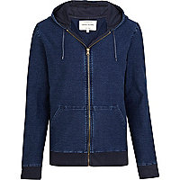 Blue denim-look zip through hoodie