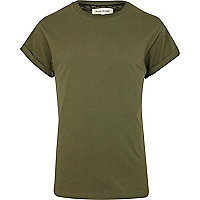 Khaki green roll sleeve t-shirt