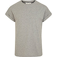 Grey marl crew neck roll sleeve t-shirt