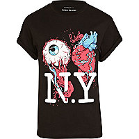 Black eye heart NY print t-shirt