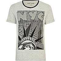 Grey NYC statue of liberty print t-shirt